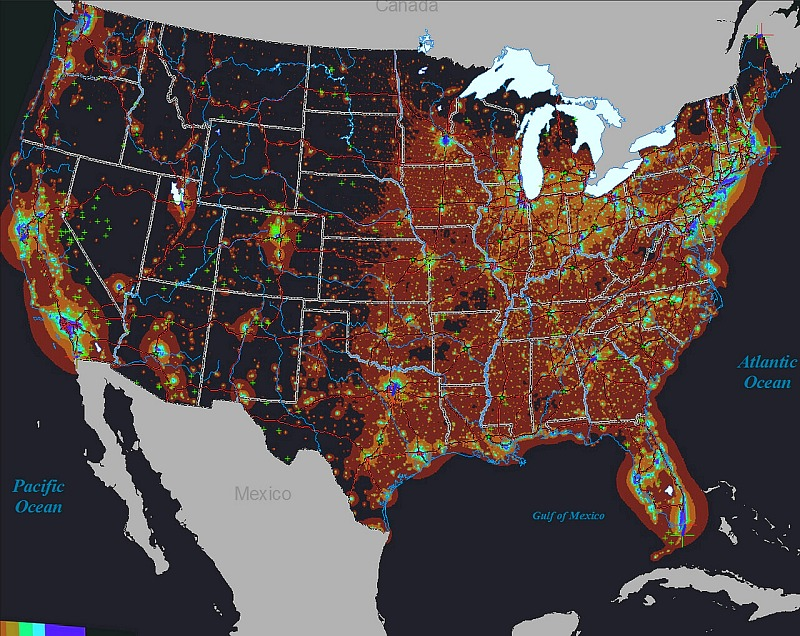 Star Party Sites vs. Light Pollution in the United States